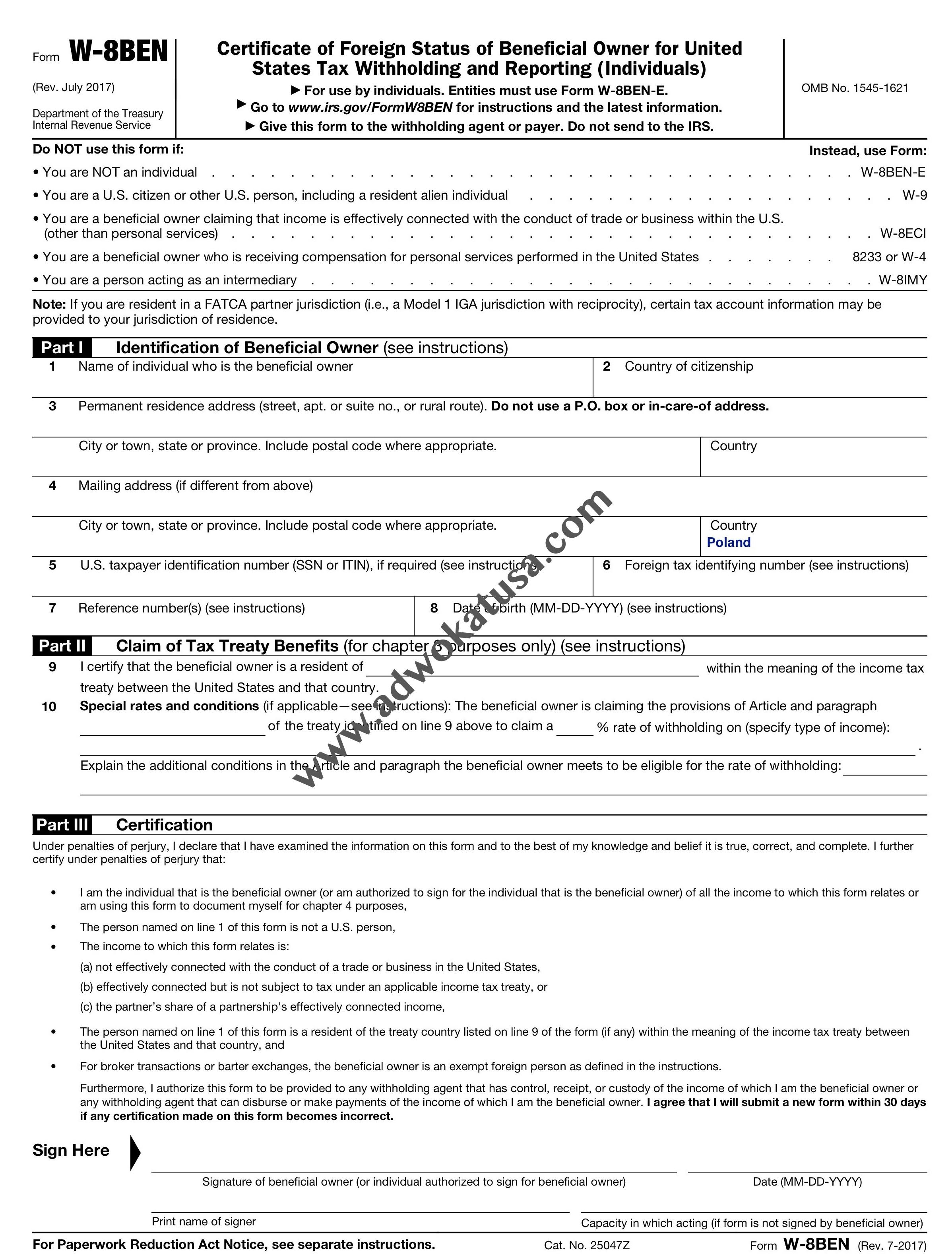 formularz W8BEN